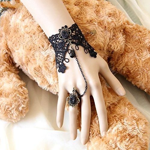 Cinco temporada 1 pieza negro de encaje con estilo gótico esclavo anillo para disfraz #9
