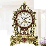 Europeo antiguo reloj grande/Silencioso reloj de bronce/sala de estar mesa de reloj/reloj de latón/Ornamentos de Villa-B