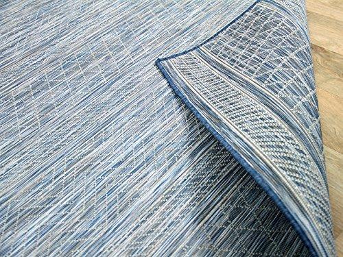 Hampton - Tapis Plat d'intérieur/extérieur - Double-Face - Bleu chiné - 5 Tailles Disponibles