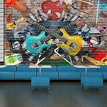 Guitarra y Música Fotomurales Pintada murales pared Niños Dormitorio Decoración Disponible en 8 Tamaños Extra pequeño Digital