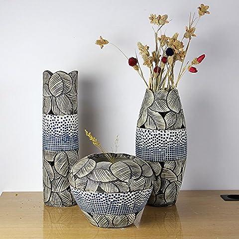 3 Ceramica vasi pezzo pieno di ornamenti scolpiti a mano foglie con un decor moderno e artigianato - Vase Trio