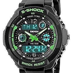 QBD Swim Armbanduhr digital-analog Jungen Mädchen Sport Digital Armbanduhr mit Alarm Stoppuhr chronograph-50m Wasser Proof Armbanduhr Grün