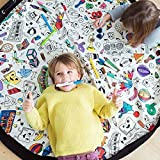 Tyhbelle Baby Aufräumsack Spieldecke, Kinder Spielzeug Speicher Tasche Aufräumsack Aufbewahrung Beutel Durchmesser 135cm (Graffiti)