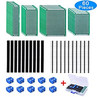 AUSTOR 30 Pcs Double Sided PCB Board Prototype Circuit Board 4 Sizes Kit with 20 Pcs 40 Pin 2.54mm Male and Female Header Connector for DIY (Bonus: 10 Pcs Screw Terminal Blocks)