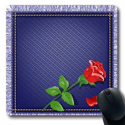 �r Computer Notebook Blue Border Serviette Jeans Fransen Red Rose Canvas Dark Denims Tautropfen Design Schrott rutschfeste Gaming-Mausunterlage ()
