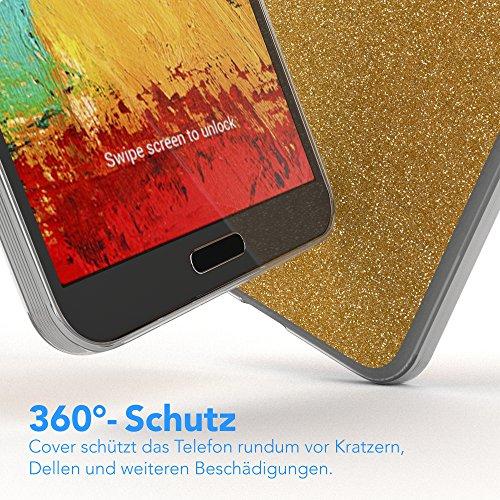 Samsung Galaxy Note 3 Hülle - EAZY CASE Ultra Slim Cover TPU Handyhülle Matt - dünne Schutzhülle aus Silikon in Transparent / Weiß Glitzer Gold