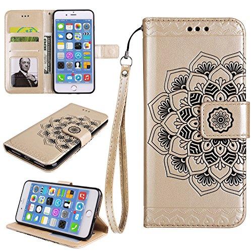 Für iPhone 7 Plus 5.5Zoll Flip PU Leder Brieftasche, Herzzer Klassisch Jahrgang [Mandala Blume Muster] Tasche Handy Case Schutz Hüllen im Bookstyle Handyhülle Ledertasche mit Stand Funktion Kartenfäch Gold