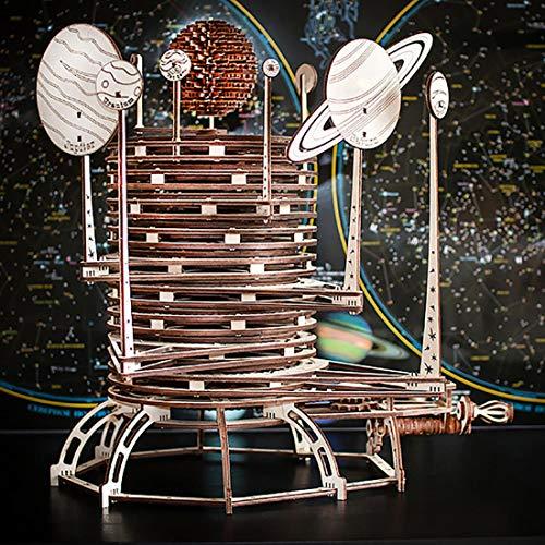 Eco Wood Art PLANETARIUM EWA EcoWoodArt 3D Holzpuzzle für Jugendliche und Erwachsene-Mechanisches Sonnensystemmodell-Astronomisches Raumplanetarium DIY-Bausatz, Selbstmontage, kein Kleber erforderlich