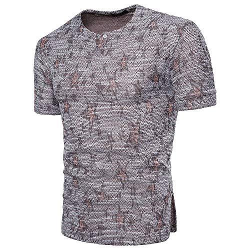 Jacquard-großen T-shirt (Oliviavane Mode Herren Slim Fit Kurzarm Pullover T-Shirts Beiläufige Rundhals Jacquard Casual Top Sommer Sport Fitness Atmungsaktiv Bequem Basic Shirts)