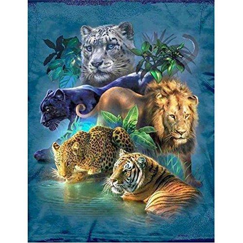 5D DIY Diamond Painting Kit, Tiger Lion Cheetah Rhinestone Broderie Cross Stitch Arts Craft pour décoration intérieure 11,8 * 15,7 pouces (30 * 40 cm)