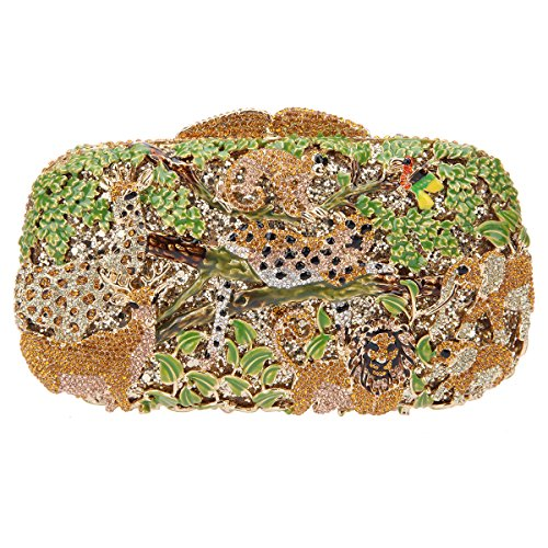 Bonjanvye Lovely and Trendy Style Forest Animal Pattern Clutch Purse Black Gold