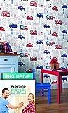 Tapete Kinderzimmer Autos Bus LKW Stadt , schöne rot blaue niedliche Tapete für Jungen und Mädchen , inklusive der Newroom Tapezier Profi Broschüre, mit allen Hilfen, Tricks und Tipps, die Sie zum perfekten Tapezieren brauchen!