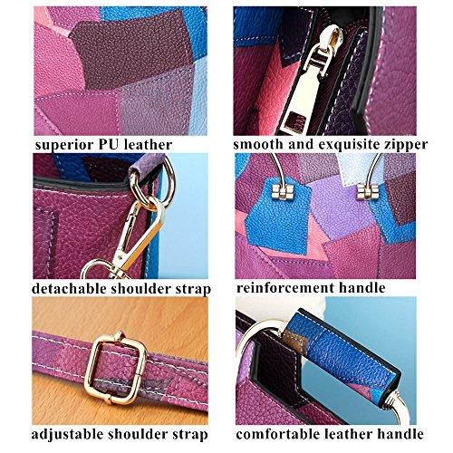 Borse a Mano Borsa Donna Tracolla Grande Blu Grigio Viola Arancione Pelle Colorata Sportiva Vintage Elegante Borsetta Donna Ragazza per Scuola Viaggio Lavoro Blocco di Colore Geometrico Arancione