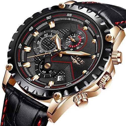 Orologi da uomo,lige cronografo impermeabile militare analogico al quarzo orologio da uomo cinturino in pelle data calendario casuale lusso orologio da polso oro rosa nero