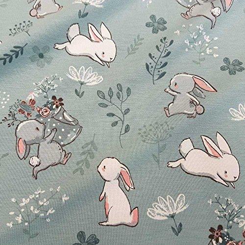 Stoff Baumwolle Jersey Meterware grau grün Hase Blumen weiß Kleiderstoff (Baumwoll-jersey-stoffe)