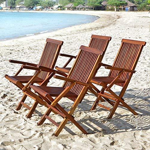 Lot de 4 fauteuils en Bois de Teck