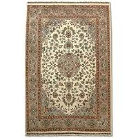 Tradizionale a mano Kashan tappeto persiano, lana/Art. Seta (highlights), bianco,