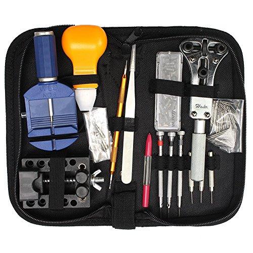 144pcs regarder kit de réparation, kit d'outil de montre bracelet Lien Outil de démontage kit de remplacement de la batterie avec étui à fermeture Éclair