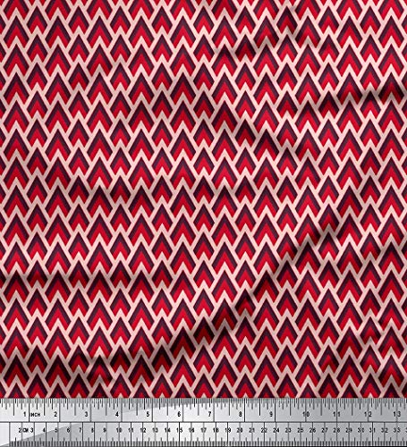 Rayon-gewebe (Soimoi 58 Zoll Breites Druck Geometrische Rayon Viskose-Gewebe 115 GSM Craft Stoff Durch Die Messgerät - Rot)