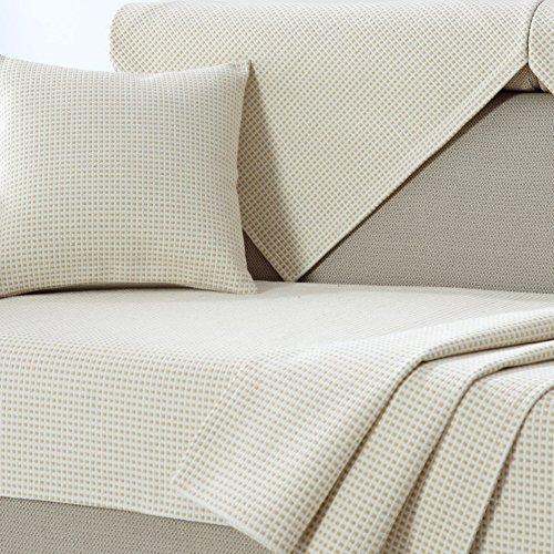 Leinen sofa slipcovers,Sofa kissen verdicken couch decken anti-rutsch sectional sofa handtuch deckt möbel pet schutz kissenhüllen -beige 70x50cm(28x20inch) Kissen Sectional Sofa