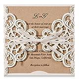 wishmade 20 x weiß Laser geschnitten Flora Spitze Einladungen Karten mit Schleife Ärmel Karten für Hochzeit Brautschmuck Dusche Verlobung Geburtstag Baby Dusche und bedruckbar Kraft Papier (20 Stück)