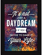 Fatmug Make Dreams Your Life Quotes Wall Art Photo Frame for Inspiration and Room Decor(Paper, 33x25x2cm, Multicolour)