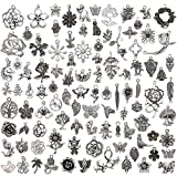JuanYa Wholesale 100 Pieces Tibetan Silver Plated Mixed Jungle Animal Plant Charms Pendants DIY for Jewelry Making and Crafting