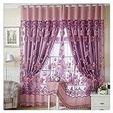Voile Vorhang, BBring 1 Stück Vorhang Transparent Gardinen Sheer Voile Drapieren Volant Tulle Fenster mit Blumenmuster,250cm x 100cm (Pink)