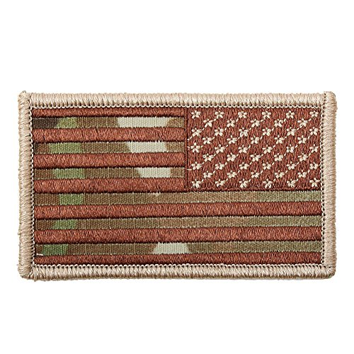 American Reverse Flag Patch With Hook And Loop Back Multicam - Reverse-flag-patch