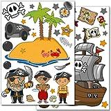 Wandkings Piraten auf Schatzsuche Wandsticker Set, 50 Aufkleber, 2 DIN A4 Bögen, Gesamtfläche 60 x 20 cm