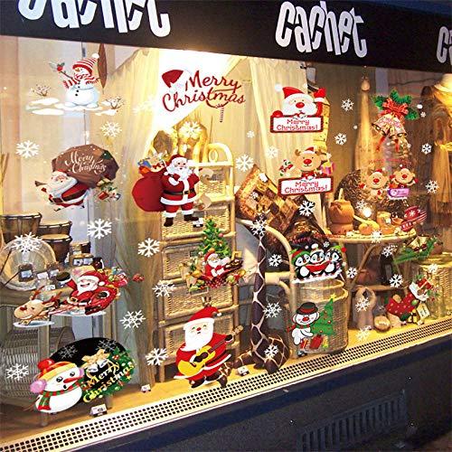 SUN-YUANYI Decoración de Navidad pegatinas de pared Ventana puerta de Cristal decoración Papá Noel Regalo tema apliques, Cartel impermeable