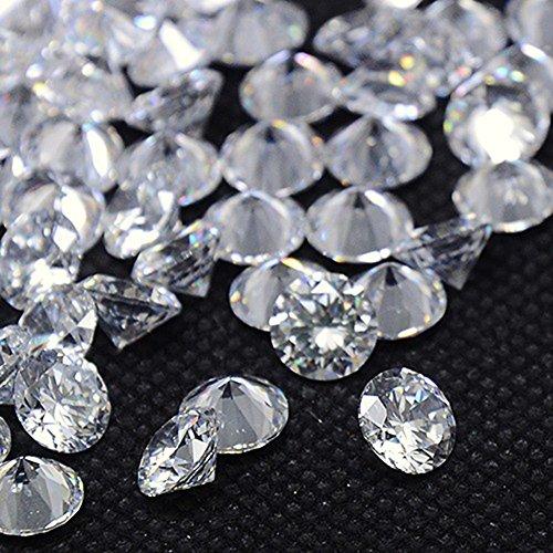 NBEADS 1000PCS zirconi cabochon, grado A, sfaccettato, Diamond, trasparente, 2mm