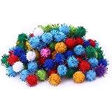 Lezed 100 Pièces Pompons Balles Glitter Pompons paillettés Craft Pompons Mini Pompons Craft Pompons Multicolores Rondes Coule