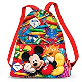 Karactermania Mickey Mouse Crayons-Strap Drawstring Bag (Small) Sac à Cordon, 35 cm, Rouge (Red)