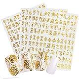 324pz Nail Art Adesivi Unghie Fiore Decalcomanie Oro Auto-adesivo Decorazioni per Unghie(3 fogli)