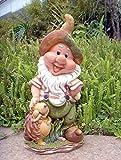 Design Zwerg mit Igel 37 cm Hoch Deko Garten Gartenzwerg Figuren Dekoration 7 verschiedene Design