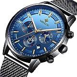 Herren Uhren Mode Wasserdichte Chronograph Quarz Uhr für Mann Luxus Business Kleid mit Schwarzem Edelstahlgewebe……