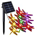 Solar Outdoor String Lights, COOLEAD® 30LED 20ft Dragonfly Solar Powered String Lights Waterproof Decorative Lighting for Landscape Patio Garden Bedroom Christmas Party Wedding Multi Color