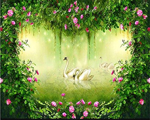 LqwxNeue papel de parede Tapeten Fashion senior Interior painting wall paper Traum Wald Rose Blume Fernseher Sofa Hintergrund-250cmX175 cm (Tropischen Wald Hintergrund)