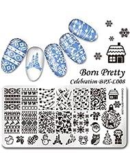 Born Pretty Nail Art Plaque de Stamping Rectangulaire Image de Noël BPX-L008 12*6cm