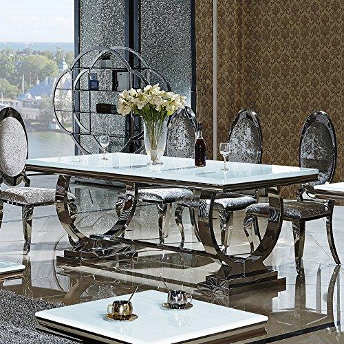 Esstisch Amelie 200 x 100 cm Esszimmertisch Glas Edelstahl Tisch Bürotisch Schreibtisch (200 cm x 100 cm)