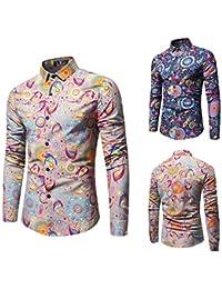 f07043863ab95 shirt Camisas De Hombre Primavera Y OtoñO Nuevos Hombres De ImpresióN De Manga  Larga Camisa De Flores Juvenil Camisa…