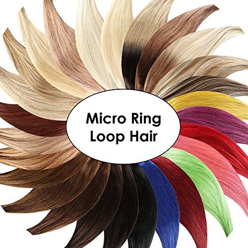 Micro-Ring / Loop Hair Extensions (#1 - SCHWARZ - 200 Strähnen - 1 g - 60 cm) 100% Echthaar Remy Haarverlängerung Micro Ring Remy Qualität by Haar-Profi - Loops Micro Ringe
