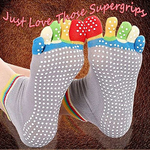 Yoga Socks Full Toe Non Slip or Skid Pilates Martial Arts Fitness Dance Barre Grip Ankle Socks / Massage Silicone Dots one size Womens 6 Prs in 6 Different Cols.