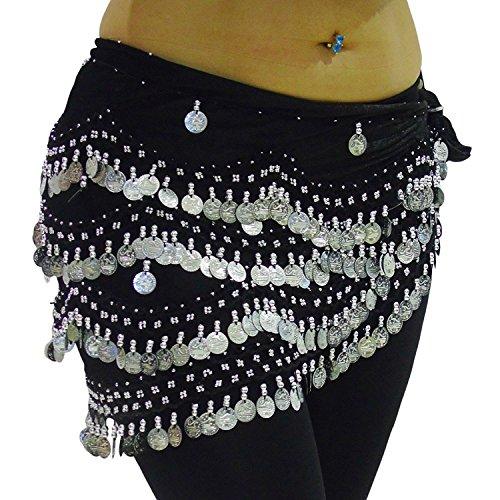 LUXURY Schwarz Silber MEGA NOISY Bauchtanz Hüftgürtel Schals Tanz Kostüm Münzen Gürtel S M L XL XXL (S bis M UK 8 - 12/14) (Tanz-kostüme Für Frauen)