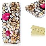 Mavis's Diary® Funda iPhone 6 Plus (5.5 pulgadas) (Labios y flores) - 3D Bling Diamantes Funda Duro Protección PC Case Cover Funda Cáscara(blanco)