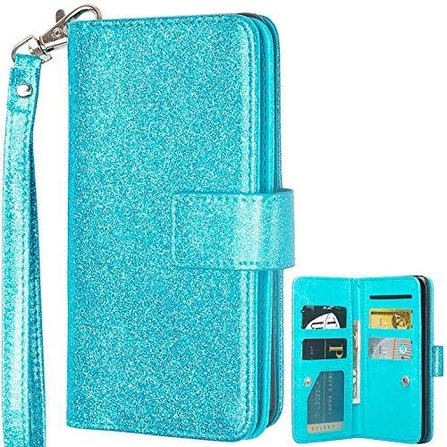 Spritech LG Stylo 4Brieftasche Fall, LG Stylo 4Plus Fall, Glitzer [9Kartenfächer] PU Leder Flip Folio Kreditkarte Slots Schutzhülle Handy Fall für LG Stylo 4 blaugrün (Lg Handy-fall)