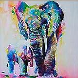 5D Diamond Painting Kit Bricolage en strass en broderie Cross Stitch Arts Craft pour décoration murale à la maison 11,8 * 11,8 pouces (30 * 30 cm) Peinture à l'huile Elephant Mother and Baby
