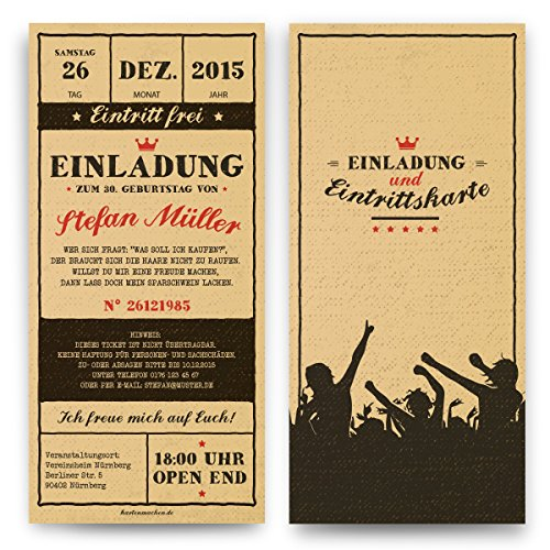 Einladungen zum Geburtstag (60 Stück) Vintage Ticket Eintrittskarten Retro 50er Jahre