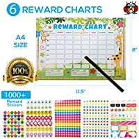 Childrens Reward Charts for Children Behaviour Chart for Children with 1000 Reward Stickers for Kids Potty Training and Good Behaviour Aid